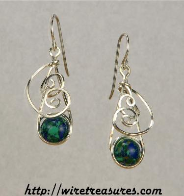Swirly Malachite & Azurite Bead Earrings