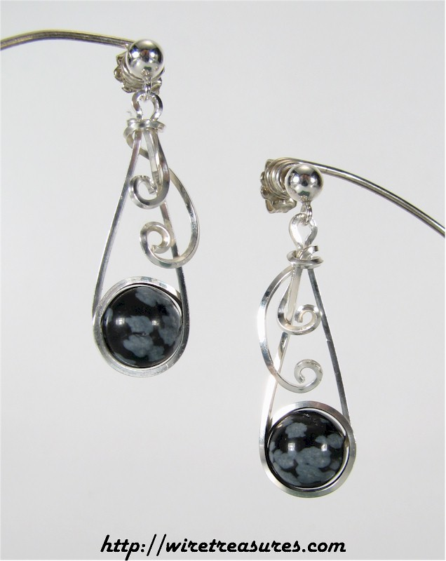 Swirly Snowflake Obsidian Bead Earrings