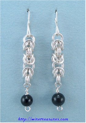Onyx Bead Byzantine Earrings
