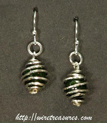Cage Earrings with Aventurine Beads