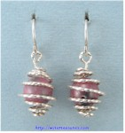 Cage Earrings with Rhodonite Beads