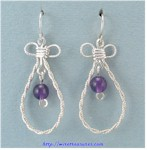 Single Amethyst Bead French Wire Earrings