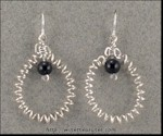 Curly Wire Earrings with Onyx Beads