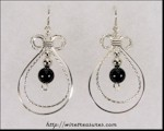 Double Loop Earrings with Onyx Beads