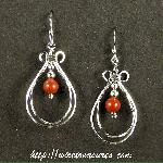 Double Loop Earrings with Red Jasper Beads