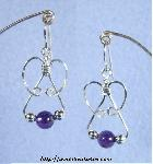 Amethyst & Silver Triple-Bead Earrings