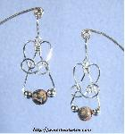 Leopardskin Jasper & Silver Triple-Bead Earrings