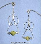 Serpentine & Silver Triple-Bead Earrings