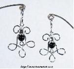 Curly Wire Earrings with Black Onyx Bead
