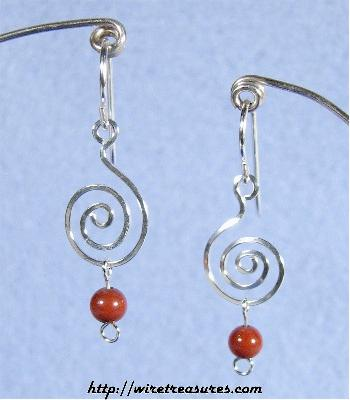 """G-Clef"" Earrings with Red Jasper Beads"