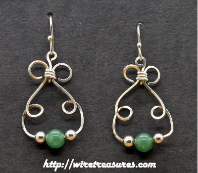 Bunny Earrings with Aventurine & Silver Beads