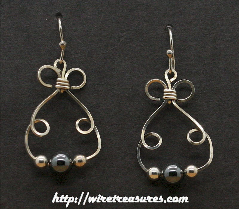 Bunny Earrings with Hematite & Silver Beads