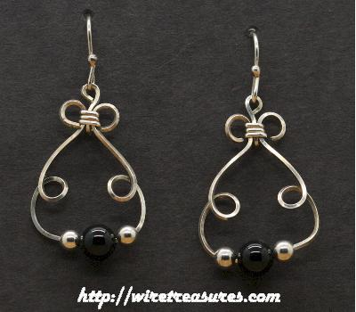Bunny Earrings with Black Onyx & Silver Beads