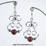 Bunny Earrings with Red Jasper & Silver Beads