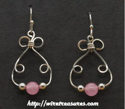 Bunny Earrings with Rose Quartz & Silver Beads