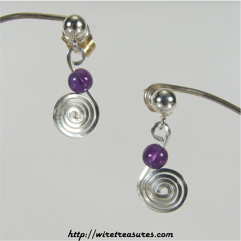 Curly Wire Earrings with Amethyst Bead