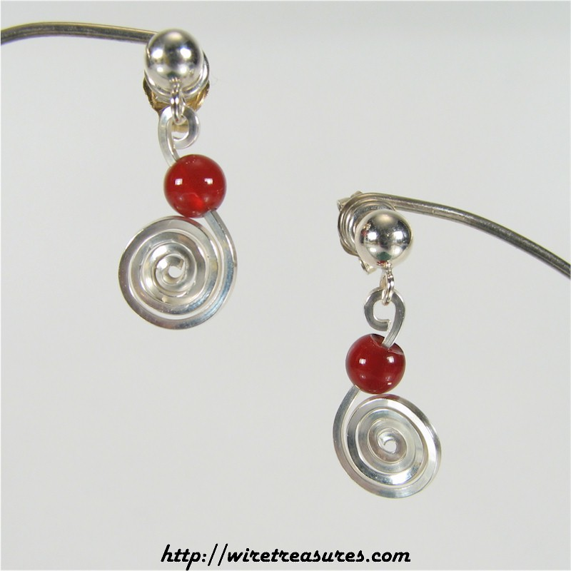 Curly Wire Earrings with Carnelian Bead