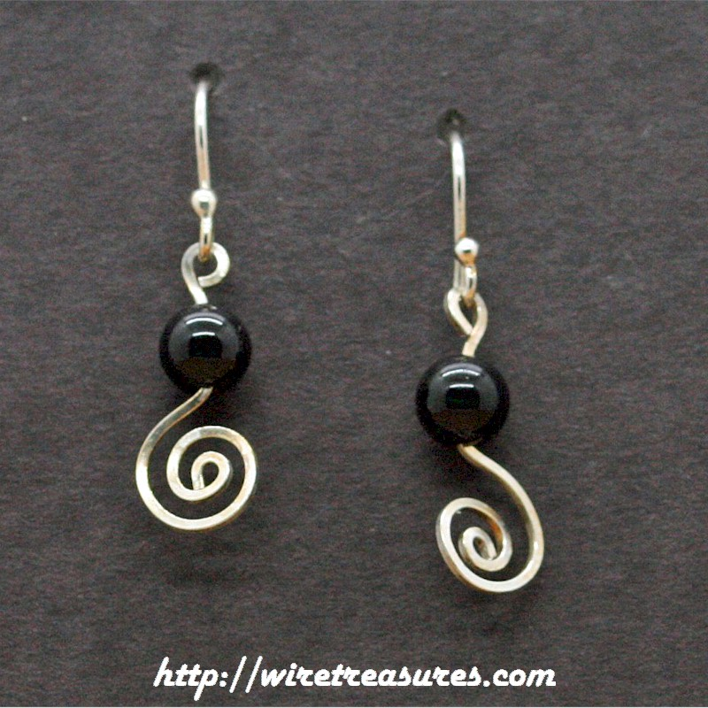 Curly Wire Earrings with Onyx Bead