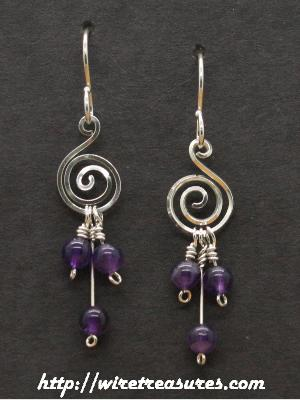 """G-Clef"" Earrings with Triple Amethyst Beads"
