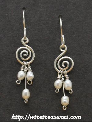 """G-Clef"" Earrings with Triple Freshwater Pearl Beads"