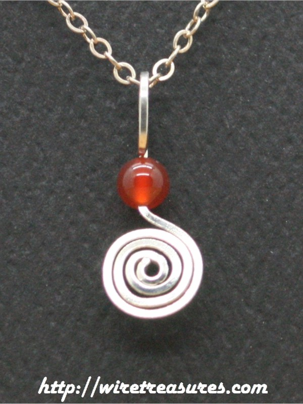 Curl with Carnelian Bead Pendant