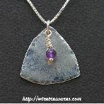 Fat Triangle Pendant with Amethyst Bead