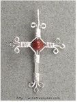 Red Jasper Bead Cross Pendant