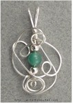 Sculpted Wire Pendant with Aventurine Bead
