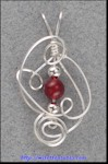 Sculpted Wire Pendant with Carnelian Bead