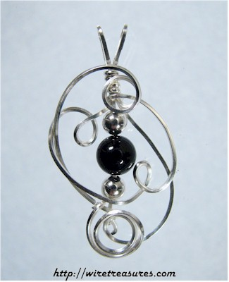 Sculpted Wire Pendant with Onyx Bead